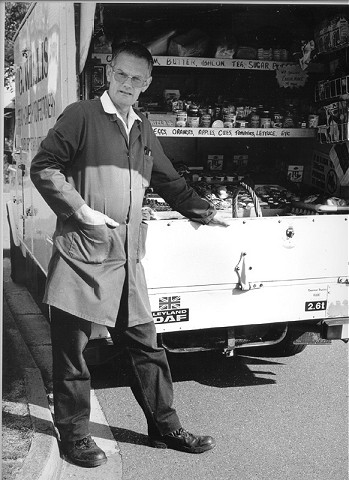 GERRY WILLIS, Mobile Shopkeeper, Gerry and his Mobile Shop have been a regular sight in the village for the last 31 years.